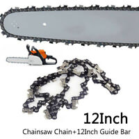 12 Chainsaw Guide Bar + 3/8 LP 50DL Saw Chain Set For STIHL MS170 MS180 MS181