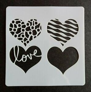LOVE HEARTS STENCIL 130mm x 130mm