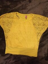 Juniors Small Top, Route Brand, Yellow, 2 Piece Look