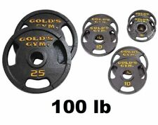 "Golds Gym 100 lb Weight Set 2"" Olympic Grip Plate Weights Barbell Lifting Plates"