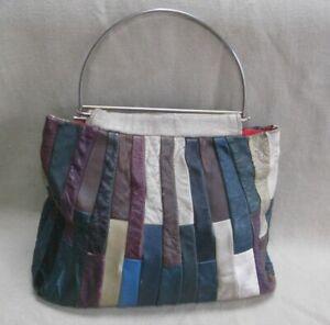 Vintage 70's hippie boho leather handbag bag patchwork