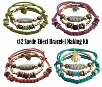 x12  Bracelet Faux Suede Jewellery Making Kit Hobby Craft Gift Set