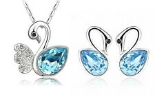 SILVER Goose Pendant Necklace Stud Earrings CRYSTAL Chain Jewelry Set Box F14