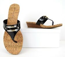 Bandolino Be Heard Black Gold Cork Wedge Heels Sandals Casual Shoes 10 M (S485)