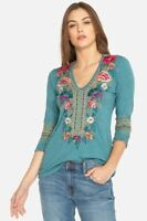 Johnny Was JWLA Katina 3/4 Sleeve Deep Scoop T-shirt New Boho Chic J17818