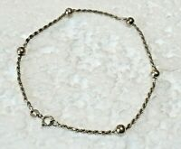 """Vtg Solid Sterling Silver TWIST BALL CHAIN 9.25 in. """" BRACELET ANKLE 925 Italy"""
