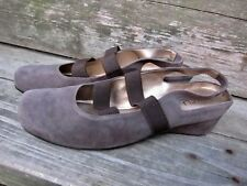 New Vaneli Taupe Brown Suede Wedge Slingback Elastic Strap Shoes 8.5