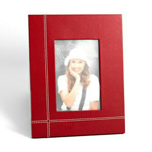 """Bey-Berk Frame 4""""x6"""" Red Leather with Easel Back"""