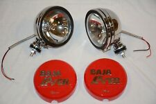 "Stainless 6"" Baja KC Style Off Road Lights 130W truck jeep Red Covers 4X4 SS"