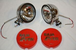 """CHROME 6"""" Baja KC Style Off Road Lights 130W truck jeep Red Covers 4X4"""