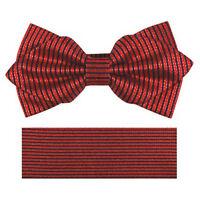 New formal Men's Diamond Shape Pre-tied Bow Tie & Hankie red black stripes