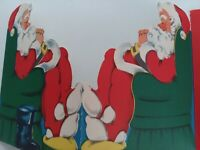 UNSIGNED 1950s Vtg SANTA Napping Norcross 3 Fold CHRISTMAS GREETING CARD