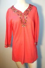 Krazy Kat Women Top floral embroidered neck tunic coral cotton New Size Small