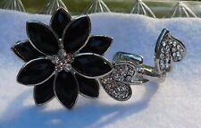2 Finger Ring Black & Clear Stones Pieces Silver Tone Metal Flower Petals 6.5, 8