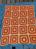 Vintage granny square afghan Throw Crochet Yellow And Orange Acrylic Yarn