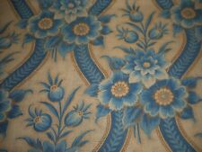 Antique 19thc 1860 French Blue Floral Cartouche Picotage Cotton Fabric #1 ~aged