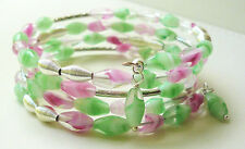BRACELET Memory Wire Wrap Pink and Green CZECH GLASS and Silver Tube KCJ1840