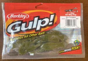 """Berkley Gulp 4"""" Bat Wing Frog Green Pumpkin"""