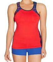 Freya Active Sports Vest Top Short Set Red Blue Size 38DD XL 16 18 Inner Bra New