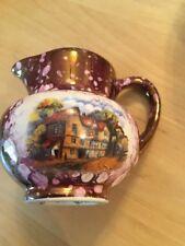 """Vintage Lustreware Purple Spatter Old Castle Mini Creamer Pitcher 2.25"""" Dollhous"""