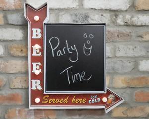 Vintage Style Light Up Beer Served Here Sign Chalk Board Metal Arrow Bar Area