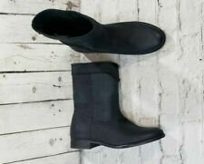 NEW Frye Cara Roper Black Mid Calf Leather Riding Boots Booties WOMEN'S SIZE 6