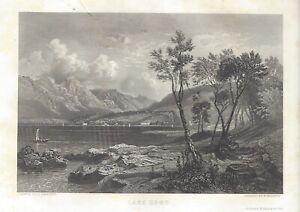 LAKE COMO, ITALY Antique Art Print 1850 Steel Engraving