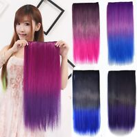 "24"" Ombre Clip In On Hair Extensions Thick 3/4 Full Head Synthetic Hairpiece"