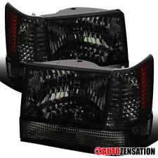 Fits 93-96 Jeep Grand Cherokee Smoke Headlight+Bumper Lights+Corner Signal Lamps