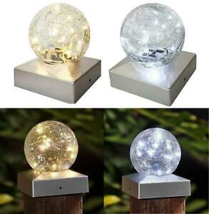 2Pc Solar LED Deck Cap Crackle Glass Ball Light Outdoor Garden Post Fence Lights