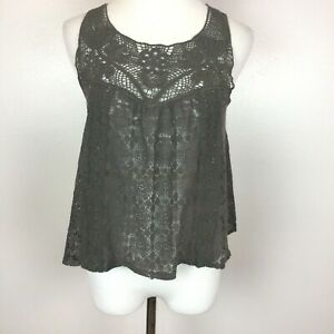 Delias Lace Tank Top S Floral Sheer Gray Summer Slightly Cropped Womens Small