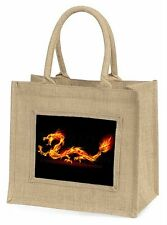 Stunning Fire Flame Dragon on Black Large Natural Jute Shopping Bag C, DRAG-1BLN