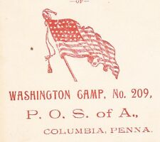 Patriotic Order Sons of America Flag Washington Camp Columbia PA 1904 Cover 6x