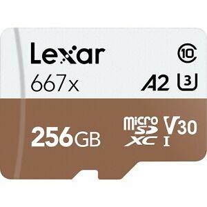 Lexar 256GB Professional 667x UHS-I V30 U3 microSDXC Memory Card with SD Adapter