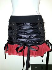 Necessary Evil Black/Red Mesh/Ribbon Tutu Mini Skirt Burlesque/Emo/Punk/Gothic M