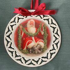 Lenox Wreath Ornament Santa's Portrait With Garland 1990