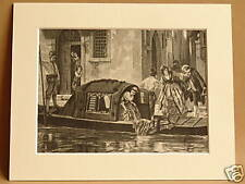 GONDOLA VENICE ITALY ANTIQUE MOUNTED ENGRAVING c1890 FROM VINTAGE PUBLICATION