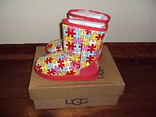 Sz 1 UGG Kids Girls Red Art & Sole Puzzle Autism Support Sheepskin Boots Limited