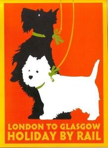 1930's LMS London to Glasgow Railway Poster  A2 Reprint