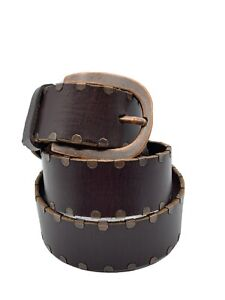 NEW Fossil Women's SMALL Brown Leather Boho Copper Riveted Stud Casual Belt