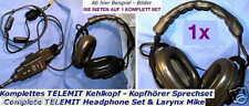 BW TELEMIT HEADPHONES TANK SET LARYNX MICROPHONE SEM TRANSCEIVER SENDER MIKE AND