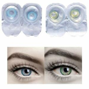 Soft Eye Blue & Green color contact lens with solution & cases
