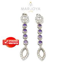 Orecchini pendenti in argento 925 rodiato con zirconi bianchi e viola
