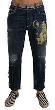 Dolce & Gabbana Jeans Blue Denim Loose Lion Print Pants S. It48 / W34