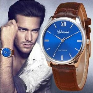 Men's Designer Watch with Sapphire Blue Face & Brown Crocodile Leather Strap