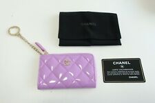 Authentic CHANEL Key Chain Patent Leather Matelasse Zipper Coin Purse   #6398