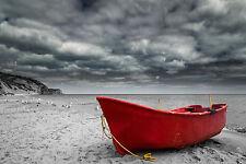 SPLENDIDA tela barca da pesca sulla spiaggia #380 Muro per Appendere Foto Art A1