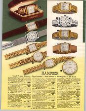 1951 PAPER AD 4 PG Hampden Wrist Watch 17 Jewel Mid Century Modern