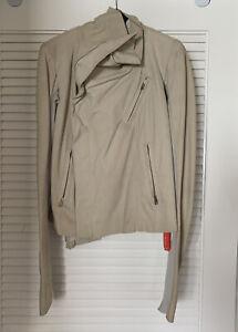 New Rick Owens Jacket Light Gray Leather Knit Sleeve Inside Zip *Size 46*