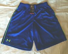 New UNDER ARMOUR Med Mens Royal Blue Lime Green Logo Stripe Athletic Shorts NWT